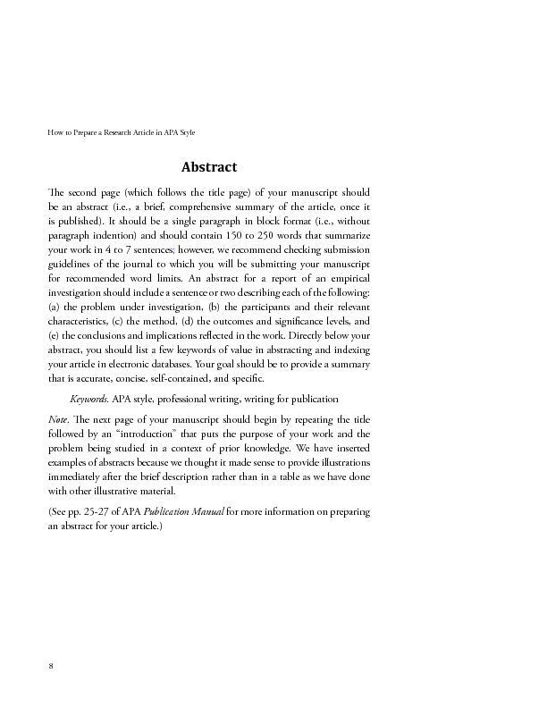 how to prepare a research article in apa style